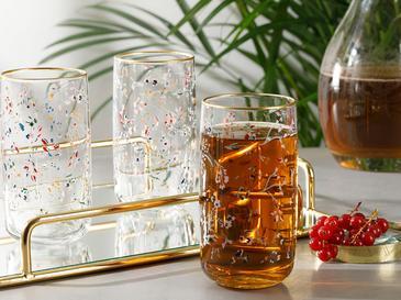 Simply Cam 3'lü Meşrubat Bardağı 365 Ml Pembe - Yeşil