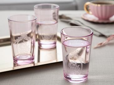 Fancy Cam 6'lı Kahve Yanı Su Bardağı 100 Ml Pembe
