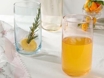 Rosalinda Cam 3'lü Meşrubat Bardağı 365 Ml Pembe - Sarı - Yeşil