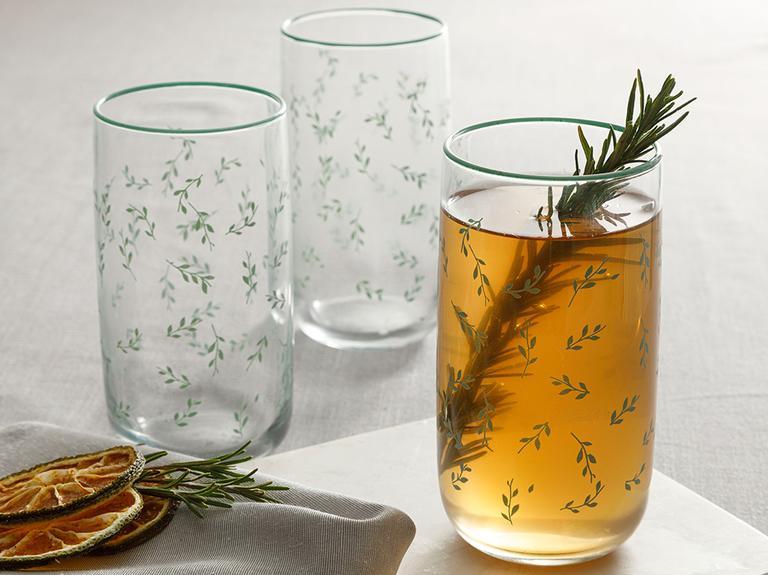 Rosalinda 4 Cam 3'lü Meşrubat Bardağı 365 Ml Su Yeşili