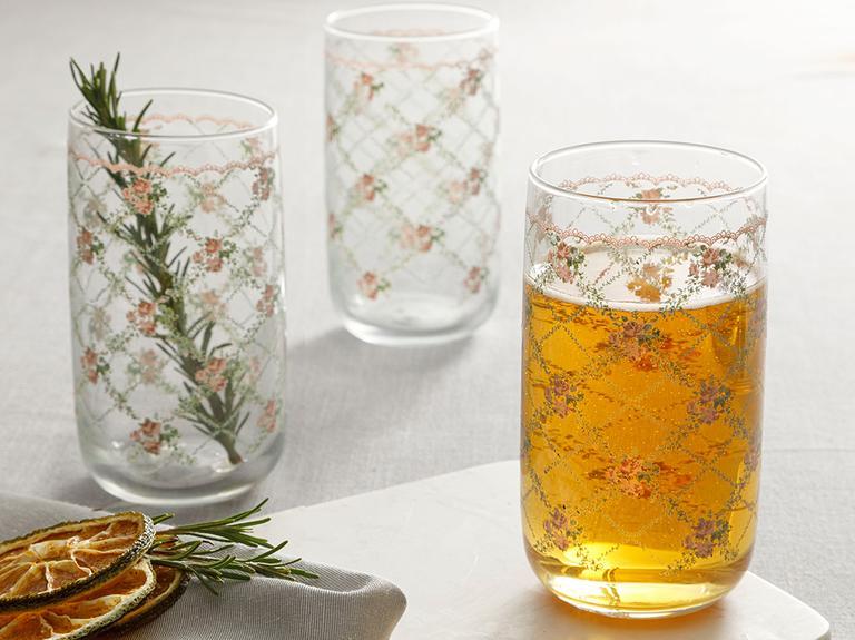 Rosalinda 1 Cam 3'lü Meşrubat Bardağı 365 Ml Pembe - Yeşil