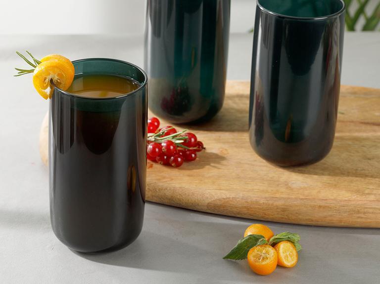 Pia Cam 3'lü Meşrubat Bardağı 365 Ml Koyu Yeşil