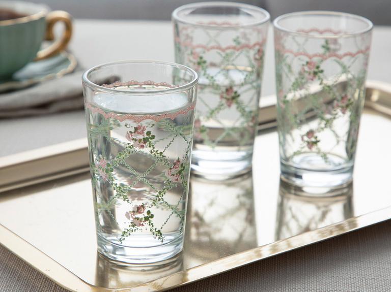 Rosalinda 1 Cam 6'lı Kahve Yanı Su Bardağı 100 Ml Pembe - Yeşil