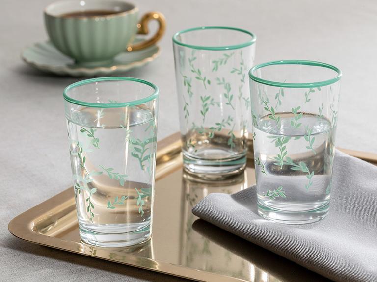 Rosalinda 4 Cam 6'lı Kahve Yanı Su Bardağı 100 Ml Su Yeşili