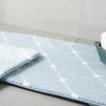 Tile Polyester Banyo Paspası Seti 60x100 - 50x60 Cm Mavi