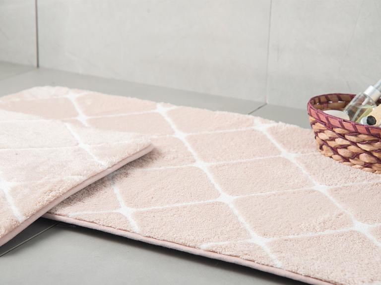 Tile Polyester Banyo Paspası Seti 50x80 - 45x50 Cm Pudra