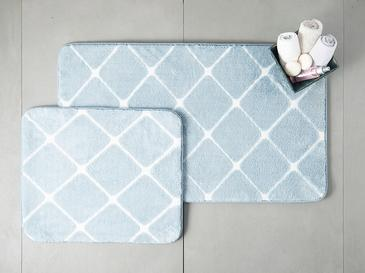 Tile Polyester Banyo Paspası Seti 50x80 - 45x50 Cm Mavi