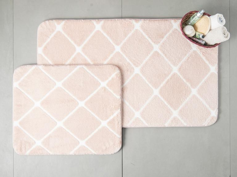 Tile Polyester Banyo Paspası Seti 60x100 - 50x60 Cm Pudra