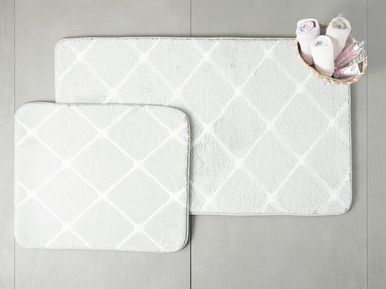Tile Polyester Banyo Paspası Seti 50x80 - 45x50 Cm Gri