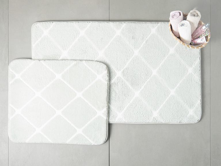 Tile Polyester Banyo Paspası Seti 60x100 - 50x60 Cm Gri