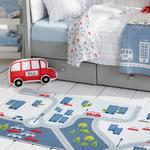 Mini Cars Şönil Çocuk Halısı 120x180 Cm Ekru - Gri