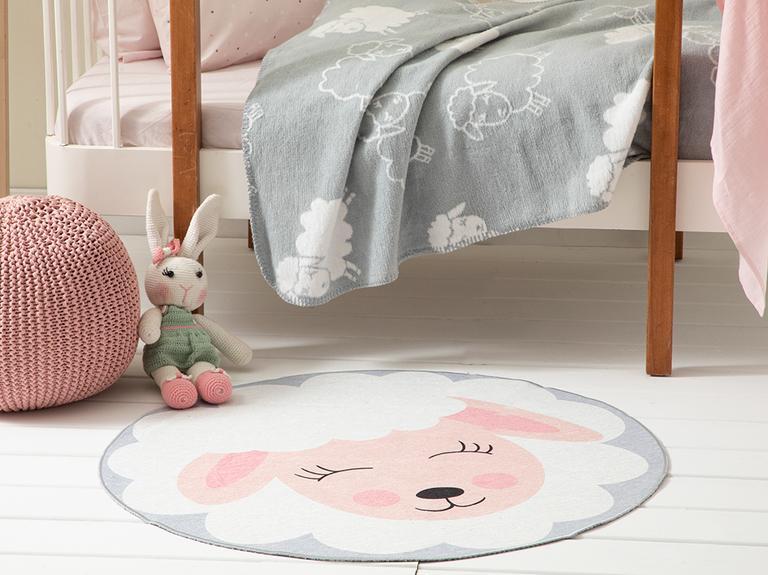 Little Lamb Şönil Çocuk Halısı 90x90 Cm Renkli