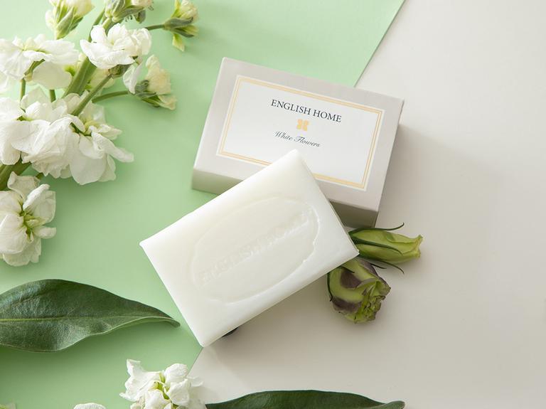 Beyaz Çiçekler Katı Sabun 100 Gr Bej