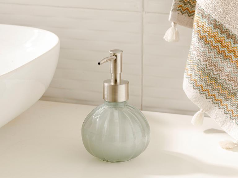 Royal Cam Banyo Sıvı Sabunluk 9x9x13,5 Cm Gri