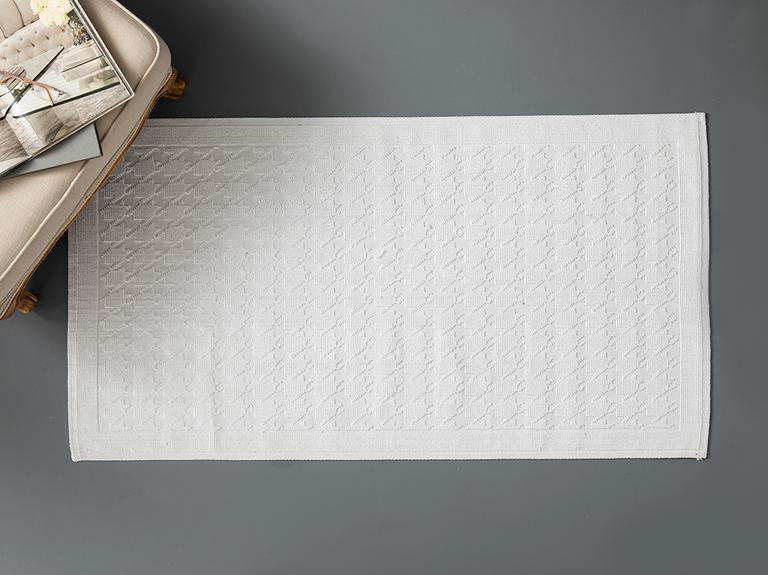 Pied De Poule Pamuklu Kilim 80x150 Cm Beyaz