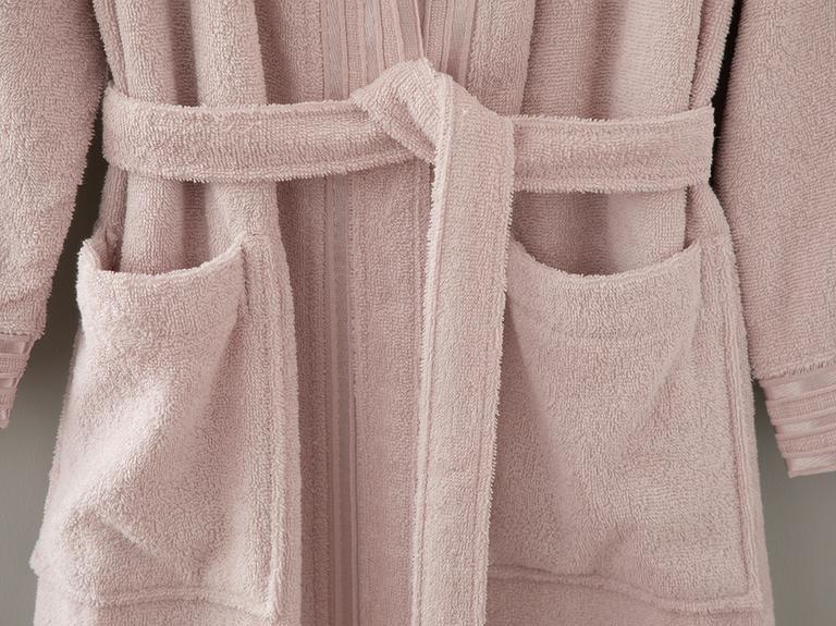 Romantic Stripe Floşlu Bornoz S-m Nude