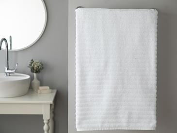Dalgalı Yumuşak Dokulu Wave Banyo Havlusu 90x150 Cm Beyaz