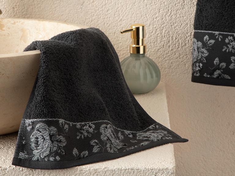 Rose Belle Bordürlü El Havlusu 30x40 Cm Antrasit