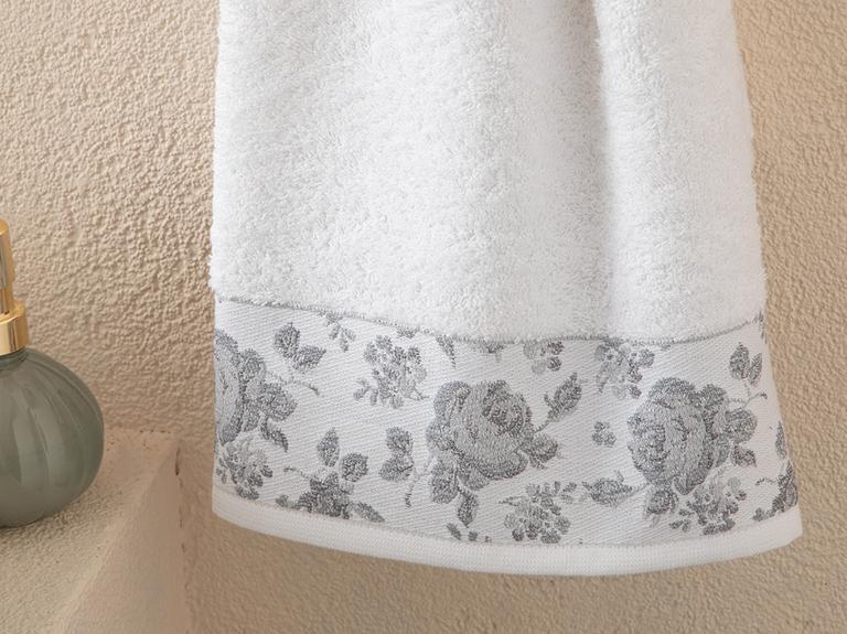 Rose Belle Bordürlü Yüz Havlusu 50x76 Cm Beyaz