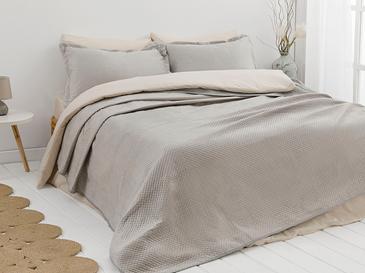 Soft Kadife Çift Kişilik Yatak Örtüsü Takımı 240x260 Cm Gri