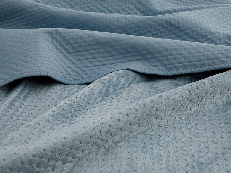 Soft Kadife Çift Kişilik Yatak Örtüsü Takımı 240x260 Cm İndigo