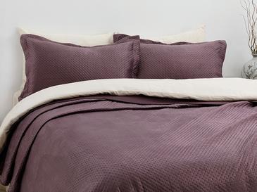 Soft Kadife Çift Kişilik Yatak Örtüsü Takımı 240x260 Cm Koyu Mürdüm