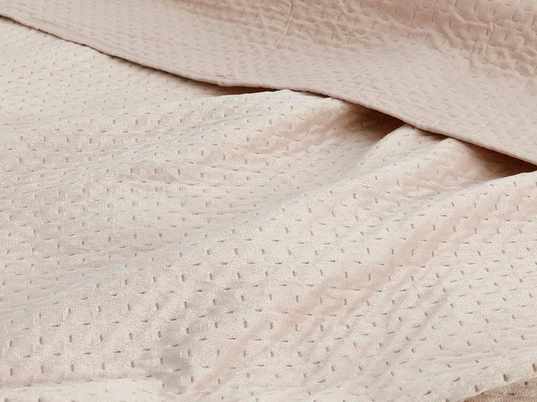 Soft Kadife Çift Kişilik Yatak Örtüsü Takımı 240x260 Cm Pudra