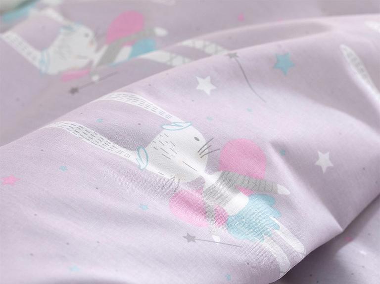 Magic Rabbit Pamuklu Bebe Nevresim Takımı 100X150 Cm Lila