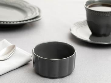 Viyana Porselen Sufle Kabı 8,5 Cm Antrasit