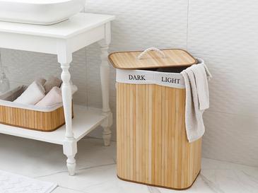 Fancy Bambu Katlanabilir 2 Bölmeli Çamaşır Sepeti 40x30x60 Cm Bej