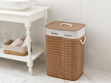 Urbann Bambu Katlanabilir 2 Bölmeli Çamaşır Sepeti 40x30x60 Cm Kahve