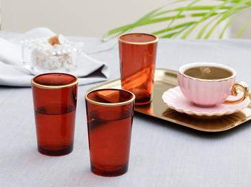 Trina Cam 6'lı Kahve Yanı Su Bardağı 100 Ml Kırmızı