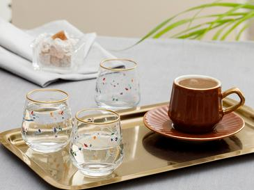 Simply Cam 6'lı Kahve Yanı Su Bardağı 115 Ml Pembe - Yeşil