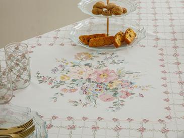 Rosalinda Polyester Kopanakili Masa Örtüsü 150x200 Cm Pembe - Beyaz