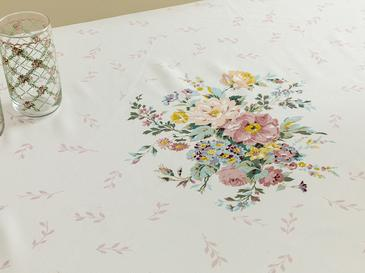 Rosalinda 4 Polyester Dikdörtgen Masa Örtüsü 150x200 Cm Beyaz - Mavi