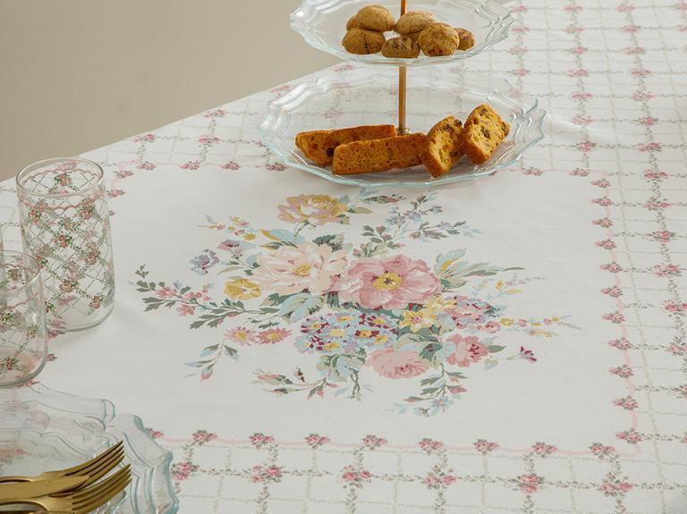 Rosalinda Polyester Kopanakili Masa Örtüsü 100x100 Cm Pembe - Beyaz