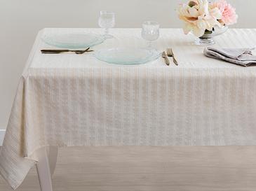 Belinda Pamuk Polyester Masa Örtüsü 150x200 Cm Bej