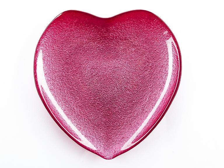 Heart Cam Servis Tabağı 21 Cm Kırmızı