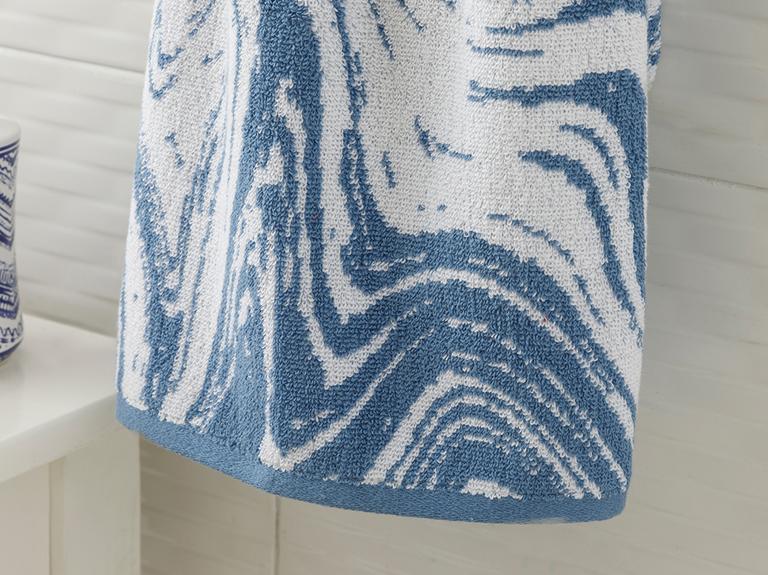 Bluewaves İpliği Boyalı Yüz Havlusu 50x80 Cm Mavi