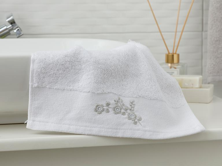 Brittle Rose Nakışlı El Havlusu 30x45 Cm Beyaz