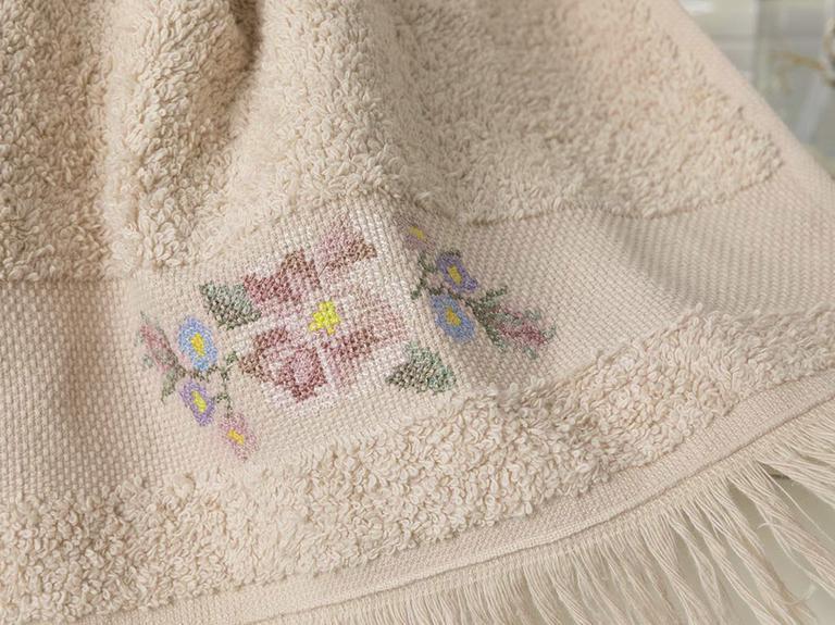Floral Stripe Nakışlı El Havlusu 30x45 Cm Açık Bej