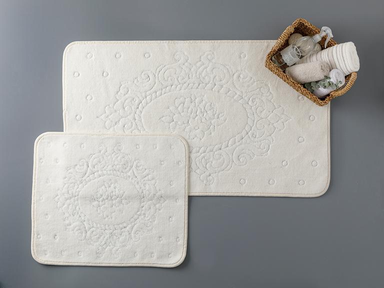 Alysa Pamuklu Banyo Paspası Seti 60x100 - 50x60 Cm Krem
