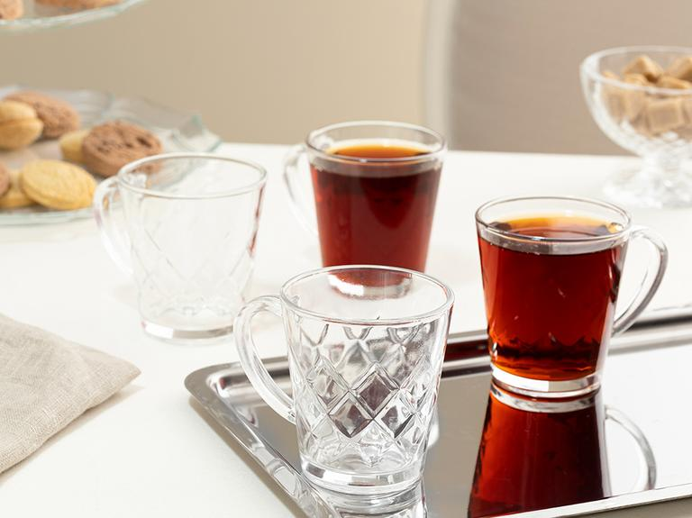 Bells Cam 4'lü Kulplu Çay Bardağı 180 Ml Şeffaf
