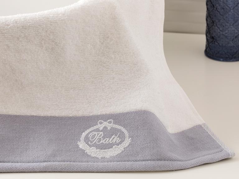 Soft Bath Bordürlü El Havlusu 30x45 Cm Açık Gri