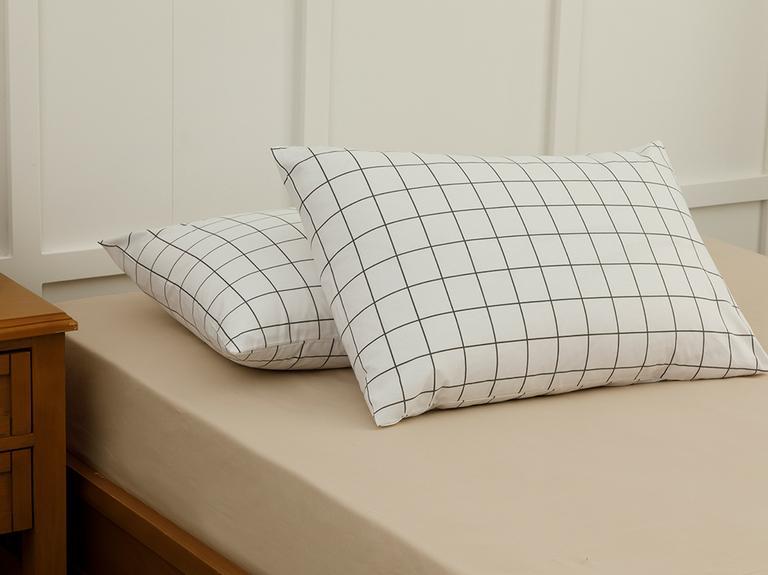 Plain Check Kombin Pamuklu 2'li Yastık Kılıfı 50x70 Cm Beyaz