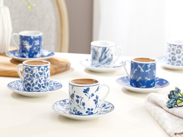 Bella Porselen 12 Parça Kahve Fincan Takımı 80 Ml Lacivert