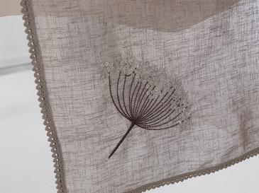 Flowers Nakışlı Linen Runner 40x150 Cm Koyu Bej