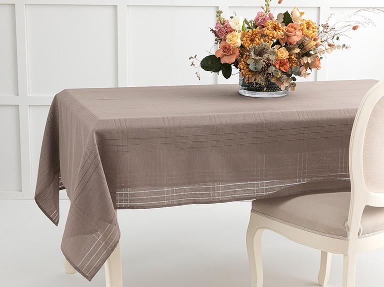 Navy Polyester Ajurlu Masa Örtüsü 150x200 Cm Koyu Bej