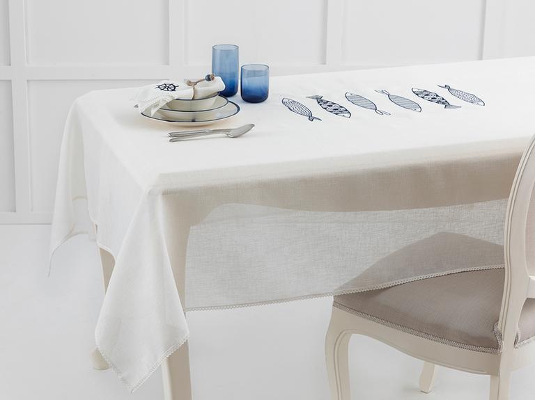 Marin Nakışlı Linen Masa Örtüsü 150x200 Cm Lacivert