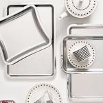Shiny Metal Tepsi 32x18 Cm Gümüş